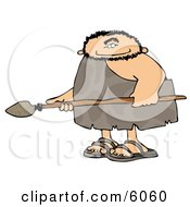 Caveman Hunting For Animals With A Spear Clipart Picture