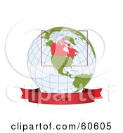 Royalty Free RF Clipart Illustration Of A Red Canada Banner Along The Bottom Of A Grid Globe