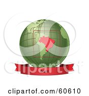 Royalty Free RF Clipart Illustration Of A Red Brazil Banner Along The Bottom Of A Green Grid Globe