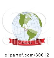 Royalty Free RF Clipart Illustration Of A Red Costa Rica Banner Along The Bottom Of A Grid Globe