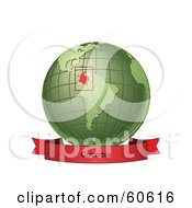 Royalty Free RF Clipart Illustration Of A Red Colombia Banner Along The Bottom Of A Green Grid Globe