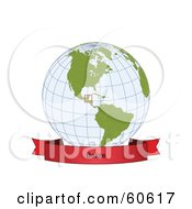 Royalty Free RF Clipart Illustration Of A Red Belize Banner Along The Bottom Of A Grid Globe