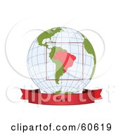Royalty Free RF Clipart Illustration Of A Red Brazil Banner Along The Bottom Of A Grid Globe