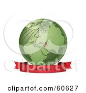 Royalty Free RF Clipart Illustration Of A Red Azerbaijan Banner Along The Bottom Of A Green Grid Globe