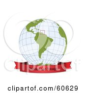 Royalty Free RF Clipart Illustration Of A Red Trinidad And Tobago Banner Along The Bottom Of A Grid Globe