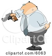 Angry Businessman Pointing A Loaded Gun At Someone