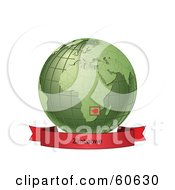 Royalty Free RF Clipart Illustration Of A Red Zimbabwe Banner Along The Bottom Of A Green Grid Globe