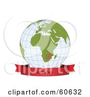 Royalty Free RF Clipart Illustration Of A Red Zimbabwe Banner Along The Bottom Of A Grid Globe