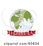 Royalty Free RF Clipart Illustration Of A Red Yemen Banner Along The Bottom Of A Grid Globe