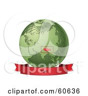 Royalty Free RF Clipart Illustration Of A Red Tibet Banner Along The Bottom Of A Green Grid Globe