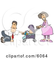 Businessman With A Pregnant Wife And Baby Daughter