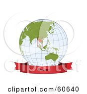 Royalty Free RF Clipart Illustration Of A Red Thailand Banner Along The Bottom Of A Grid Globe
