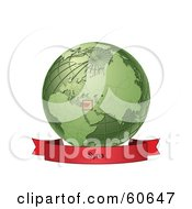 Royalty Free RF Clipart Illustration Of A Red Syria Banner Along The Bottom Of A Green Grid Globe