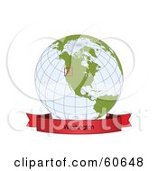 Royalty Free RF Clipart Illustration Of A Red Washington Banner Along The Bottom Of A Grid Globe