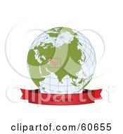 Royalty Free RF Clipart Illustration Of A Red Uzbekistan Banner Along The Bottom Of A Grid Globe