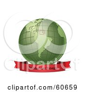 Royalty Free RF Clipart Illustration Of A Red Trinidad And Tobago Banner Along The Bottom Of A Green Grid Globe