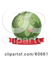Royalty Free RF Clipart Illustration Of A Red Tanzania Banner Along The Bottom Of A Green Grid Globe