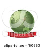Royalty Free RF Clipart Illustration Of A Red Taiwan Banner Along The Bottom Of A Green Grid Globe
