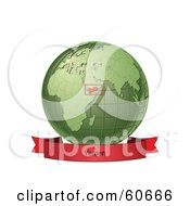 Royalty Free RF Clipart Illustration Of A Red Yemen Banner Along The Bottom Of A Green Grid Globe