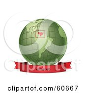 Royalty Free RF Clipart Illustration Of A Red Venezuela Banner Along The Bottom Of A Green Grid Globe