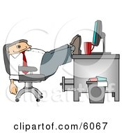 Exhausted Businessman Resting Feet On Computer Desk Clipart Picture