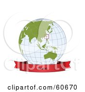Royalty Free RF Clipart Illustration Of A Red Taiwan Banner Along The Bottom Of A Grid Globe