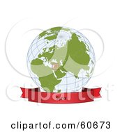 Royalty Free RF Clipart Illustration Of A Red Syria Banner Along The Bottom Of A Grid Globe
