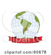 Royalty Free RF Clipart Illustration Of A Red Uruguay Banner Along The Bottom Of A Grid Globe