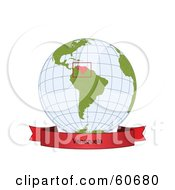 Royalty Free RF Clipart Illustration Of A Red Venezuela Banner Along The Bottom Of A Grid Globe