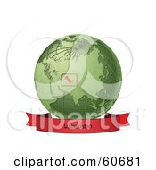 Royalty Free RF Clipart Illustration Of A Red Uzbekistan Banner Along The Bottom Of A Green Grid Globe