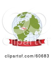 Royalty Free RF Clipart Illustration Of A Red Turkey Banner Along The Bottom Of A Grid Globe