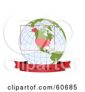 Royalty Free RF Clipart Illustration Of A Red United States Banner Along The Bottom Of A Grid Globe by Michael Schmeling