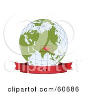 Royalty Free RF Clipart Illustration Of A Red Tibet Banner Along The Bottom Of A Grid Globe