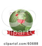 Royalty Free RF Clipart Illustration Of A Red United States Banner Along The Bottom Of A Green Grid Globe by Michael Schmeling