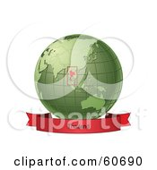 Royalty Free RF Clipart Illustration Of A Red Thailand Banner Along The Bottom Of A Green Grid Globe