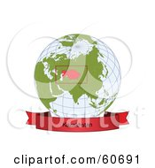 Royalty Free RF Clipart Illustration Of A Red Kazakhstan Banner Along The Bottom Of A Grid Globe