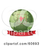 Red India Banner Along The Bottom Of A Green Grid Globe