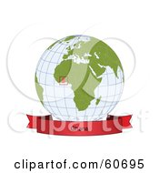 Royalty Free RF Clipart Illustration Of A Red Ghana Banner Along The Bottom Of A Grid Globe