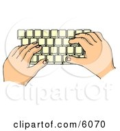 Hands Typing On A Computer Keyboard Clipart Picture