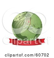 Royalty Free RF Clipart Illustration Of A Red Finland Banner Along The Bottom Of A Green Grid Globe