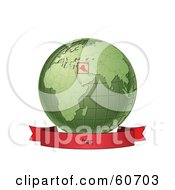 Royalty Free RF Clipart Illustration Of A Red Iraq Banner Along The Bottom Of A Green Grid Globe by Michael Schmeling
