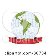 Royalty Free RF Clipart Illustration Of A Red Guyana Banner Along The Bottom Of A Grid Globe