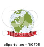 Royalty Free RF Clipart Illustration Of A Red Georgia Republic Banner Along The Bottom Of A Grid Globe
