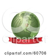 Royalty Free RF Clipart Illustration Of A Red Iowa Banner Along The Bottom Of A Green Grid Globe