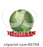 Royalty Free RF Clipart Illustration Of A Red Haiti Banner Along The Bottom Of A Green Grid Globe by Michael Schmeling