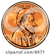 Close Up Of An American Penny Worth One Cent Clipart Picture