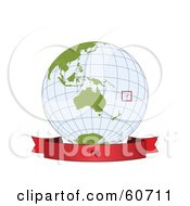 Royalty Free RF Clipart Illustration Of A Red Fiji Banner Along The Bottom Of A Grid Globe