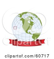 Royalty Free RF Clipart Illustration Of A Red Hawaii Banner Along The Bottom Of A Grid Globe by Michael Schmeling