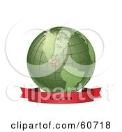 Royalty Free RF Clipart Illustration Of A Red Guatemala Banner Along The Bottom Of A Green Grid Globe