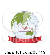 Royalty Free RF Clipart Illustration Of A Red Indonesia Banner Along The Bottom Of A Grid Globe